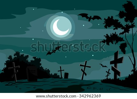 Night scene at the cemetery with bats - stock vector