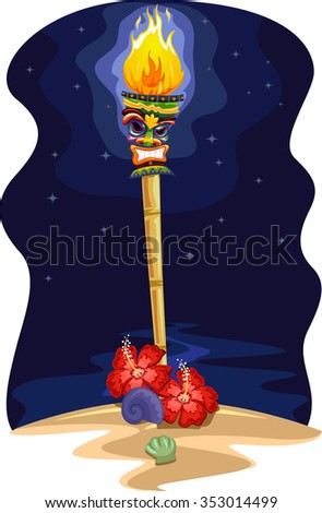 Night Scene Illustration of a Tropical Island with a Tiki Torch on the Shore - stock vector