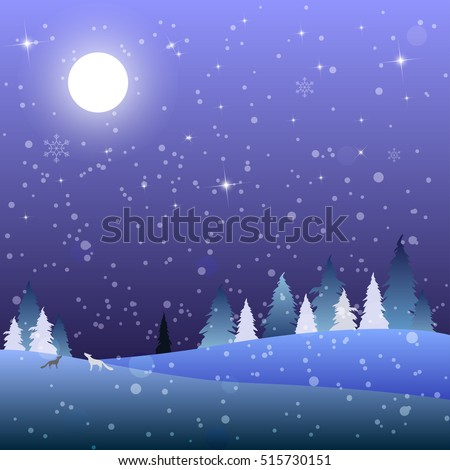 Night scene winter landscape with full moon on a starry sky in forest and snow. Night blue background. Vector Illustration.