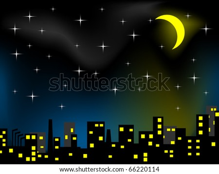 Night scenery of city with moon - stock vector