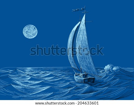 Night sea view, sail boat in the moonlight - stock vector