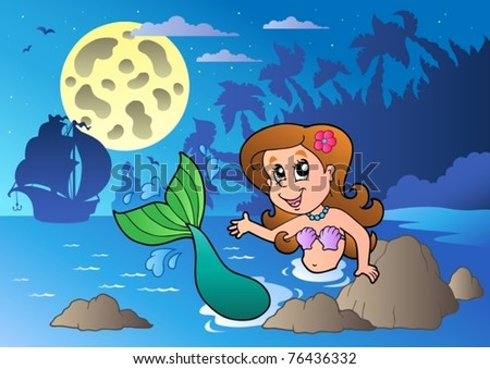Night seascape with swimming mermaid - vector illustration.