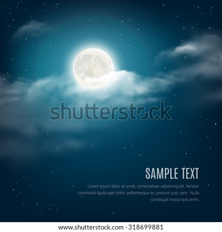 Night sky background, cloudy sky with the shining stars and moon. Vector illustration
