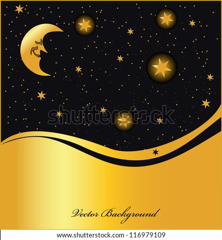 night sky golden background, vector - stock vector