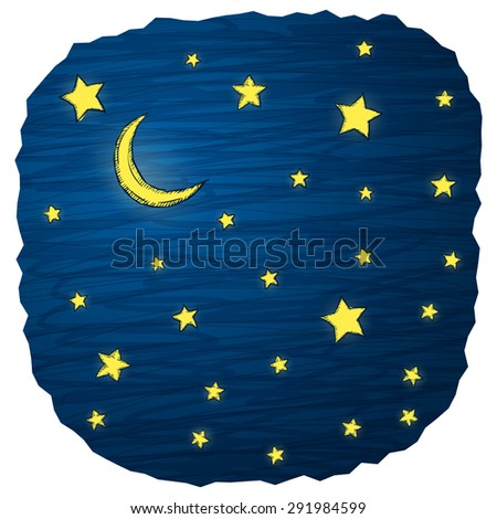 Night sky hand draw vector illustration with stars and moon - stock vector