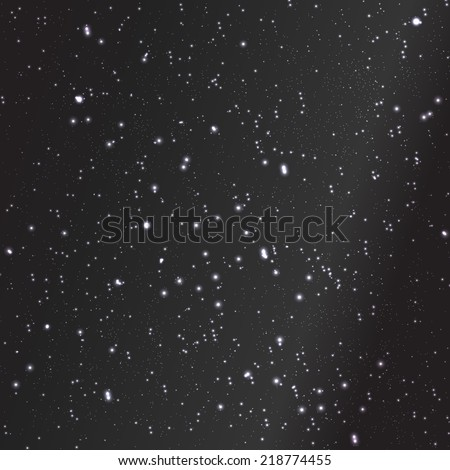 Night sky, nebula and galaxy, black and white background, vector illustration - stock vector