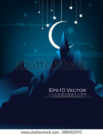 night sky outdoor view mountain, hanging moon and stars conceptual landscape background illustration - stock vector
