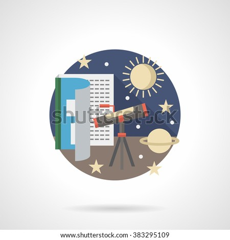 Night sky research. Astronomy lessons. Book, telescope, planet and stars. Science and education. Single detailed flat color style vector icon. Web design elements for business, site, mobile app.  - stock vector