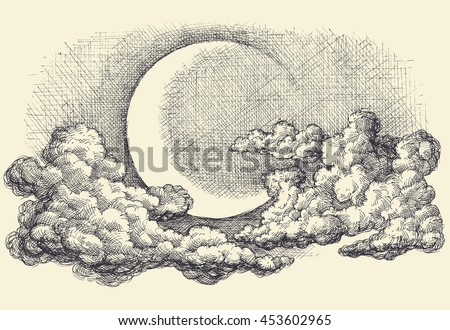 Night sky vector, moon in the clouds hand drawing