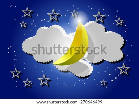 night sky with abstract moon and stars - stock vector
