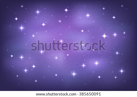 Night sky with glittering stars background. Vector horizontal template - stock vector
