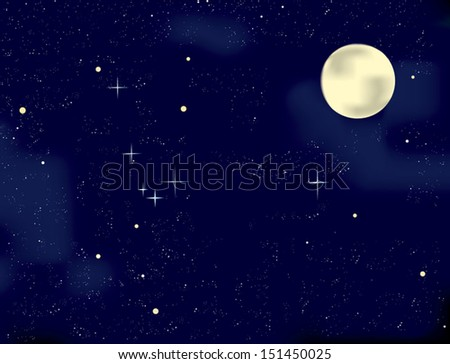 Night sky with stars and full moon. - stock vector