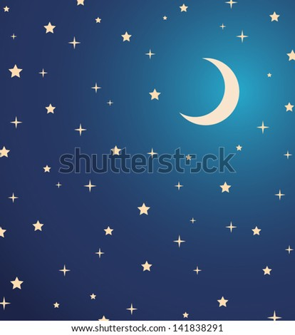 night sky with stars and moon. vector illustration