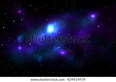 Night sky with stars and nebula. Space vector illustration - stock vector