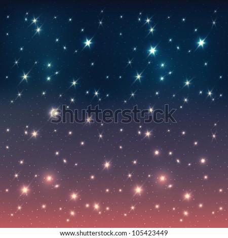 Night sky with stars, EPS10 - stock vector
