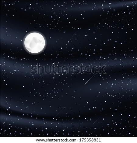 night sky with stars, moon, meteorites - stock vector