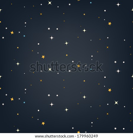 Night sky with stars seamless vector pattern - stock vector