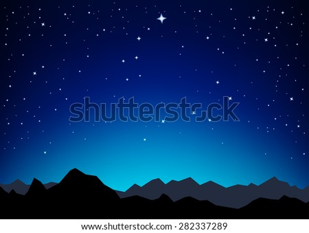 Night sky with the constellation of the Great and Little Dipper as they are in the nature and a silhouette of the mountains - stock vector