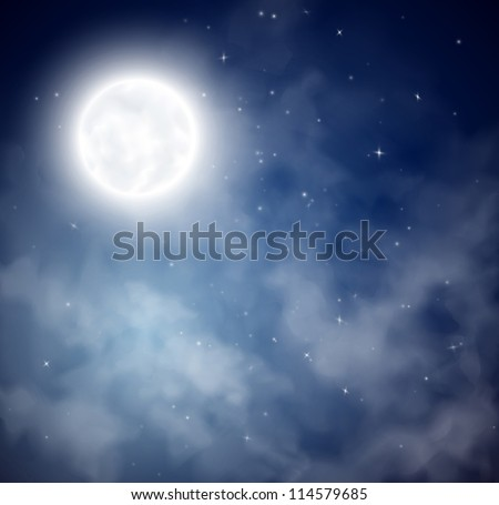 Night sky with the moon and stars. Eps 10 - stock vector