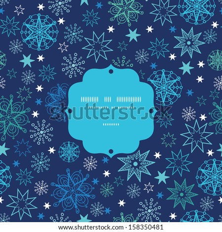 Night snowflakes frame seamless pattern background