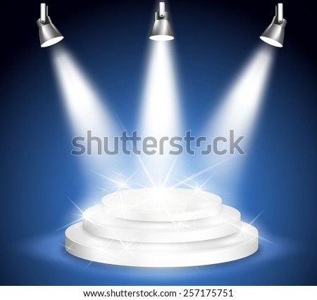 Night stage performance. Light and spotlight, projection and party and entertainment. Vector illustration - stock vector