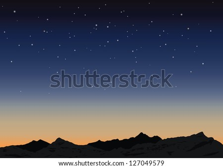 Night starry sky and mountains. Vector illustration - stock vector