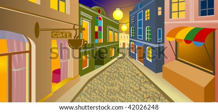 Night street in an old city - stock vector