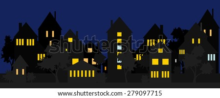 Night street in the suburbs or the countryside. - stock vector