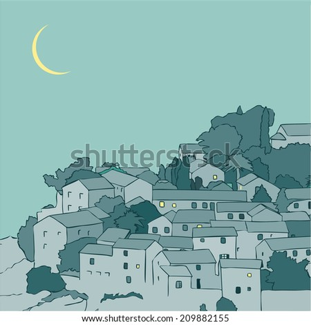 Night summer ciityscape. The narrow medieval street view with old houses in the Mediterranean town. Vector illustration.  - stock vector