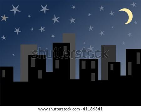 Night time cityscape with the moon and stars. - stock vector