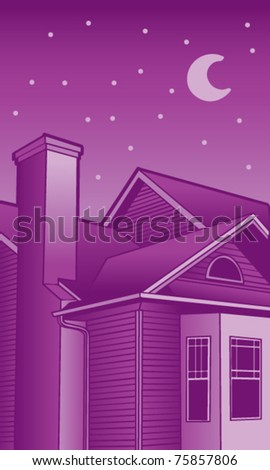 Night Time Roof illustrations - stock vector