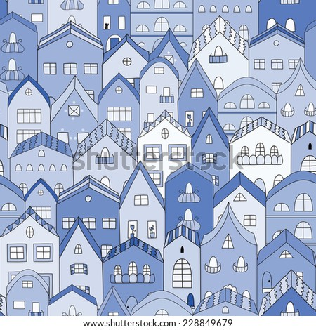 Night town full of houses seamless pattern. Vector illustration. - stock vector
