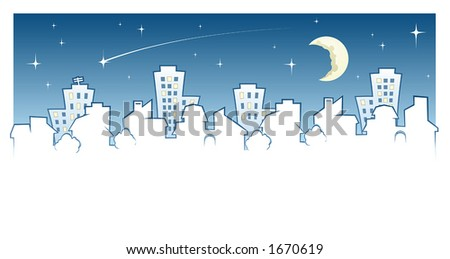 Night Town Skyline - stock vector