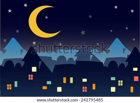 night town with moon and stars.