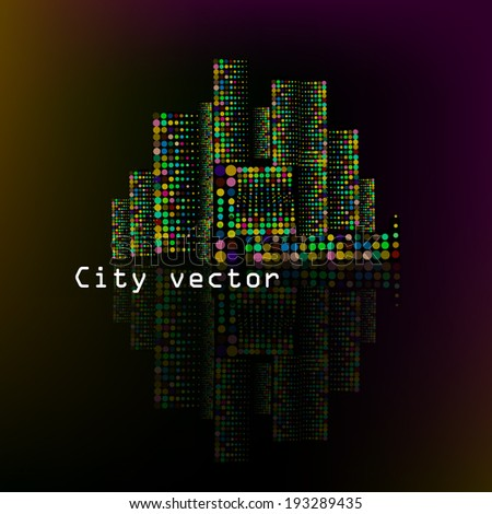 Night town with reflection. Vector - stock vector