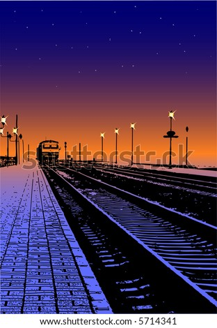 Night train - stock vector