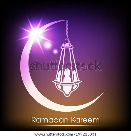 night view of a arabic lamp hanging through a illuminated colourful moon for the celebration of ramadan kareem and eid mubarak and other muslim festivals. - stock vector