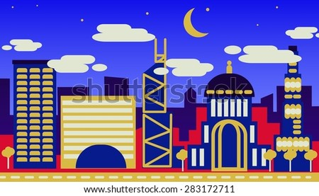 Night view of a modern city with skyscrapers concept flat design picture - stock vector