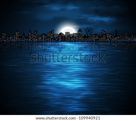 Night view of city on the coast with rising moon. Eps 10 - stock vector