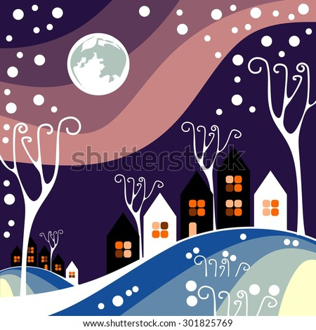 Night winter town with purple sky - stock vector