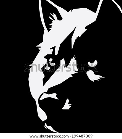 night wolf vector pic - stock vector