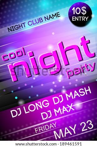 Nightclub disco party Friday night advertising event billboard poster vector illustration - stock vector