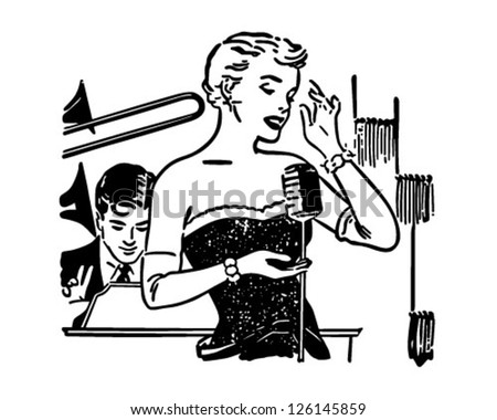 Nightclub Singer - Retro Clipart Illustration - stock vector
