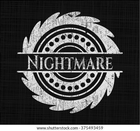 Nightmare chalk emblem, retro style, chalk or chalkboard texture - stock vector