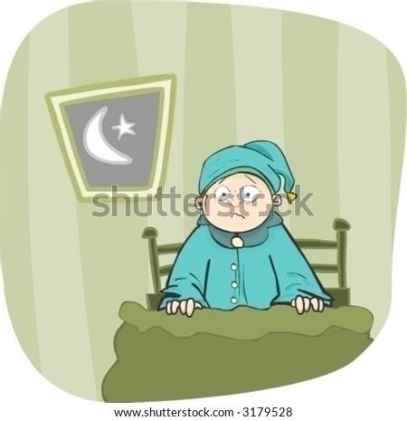 Nightmare in bed (Vector) - See my portfolio for more great vectors! - stock vector