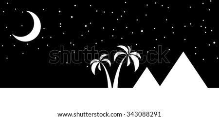 Nights sky over the pyramids in Egypt with a crescent moon. vector illustration - stock vector