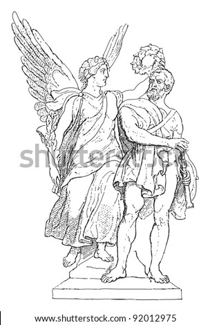 Nike crowns the hero / sculpture by Friedrich Drake / vintage illustration from Meyers Konversations-Lexikon 1897 - stock vector