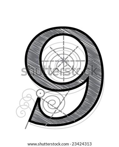 Nine - stock vector
