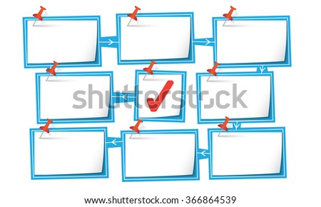 Nine abstract text boxes for your text and check box - stock vector