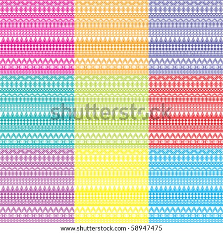 nine backgrounds with geometrical ornaments in bright tones - stock vector